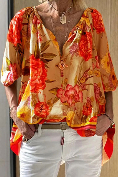 Casual V-neck Sleeve Print Shirt