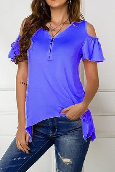Off-Shoulder Irregular T-Shirt