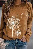 Round Neck Long Sleeve Printed Sweatshirt