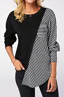 Round Neck  Asymmetric Hem  Patchwork Stripes  Sweatshirts