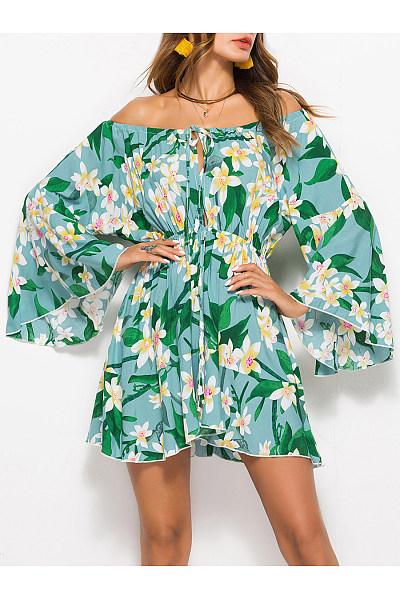 Floral Printed Attractive Off Shoulder Elastic Waist Skater Dress