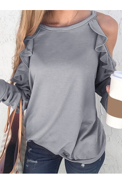 Hollow Out Long Sleeve Plain T-Shirts