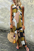 Casual Cotton/Linen Printed Sleeveless Dress