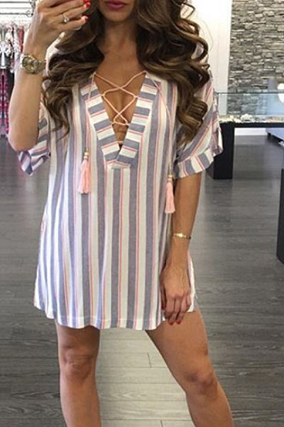 Deep V Neck  Lace Up  Striped  Short Sleeve Casual Dresses