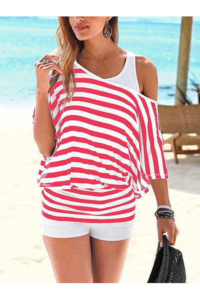 One Shoulder  Backless Cutout Elastic Waist Racerback  Striped Long Sleeve T-Shirts