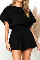Elastic Waist  Belt Loops  Plain  Playsuits