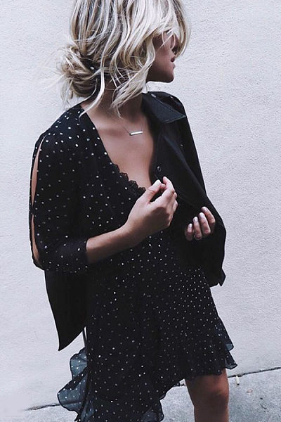 Deep V Neck  Dot  Long Sleeve Casual Dresses