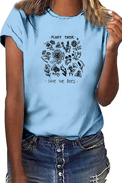 Round Neck Printed Casual T-shirt
