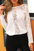 Round Neck Lace Plain Shirt
