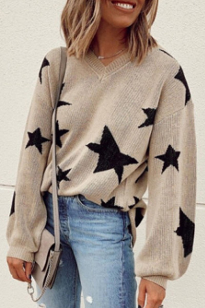 Fashion Casual V Neck Star Pattern Sweater