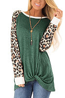 Fashion Casual Leopard Print Round Neck Patchwork Loose Shirt