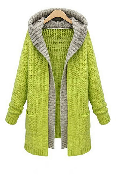 Hooded Pockets Colouring Outerwear