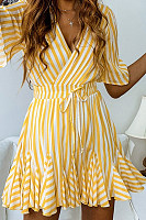 V Neck  Striped  Short Sleeve Skater Dresses