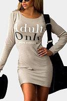 Round Neck  Letters Plain Bodycon Dresses
