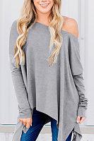 One Shoulder  Asymmetric Hem  Plain T-Shirts