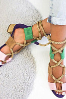 Color Block  Chunky  Low Heeled  Peep Toe  Date Travel Sandals