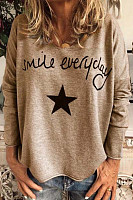 V Neck Loose-Fitting Letters T-Shirt