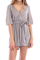 Deep V Neck  Belt  Plain  Half Sleeve  Playsuits