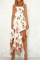 Spaghetti Strap  Asymmetric Hem  Bust Darts  Floral Printed  Sleeveless Maxi Dresses