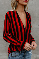 Deep V Neck  Striped  Blouses