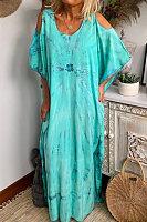 Round neck off-shoulder blue tie-dye print maxi dress
