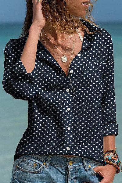 Casual Turndown Collar Long Sleeve Polka Dot Blouse