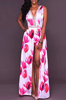 V Neck  Backless Bowknot Patchwork  Hollow Out Printed  Sleeveless Maxi Dresses