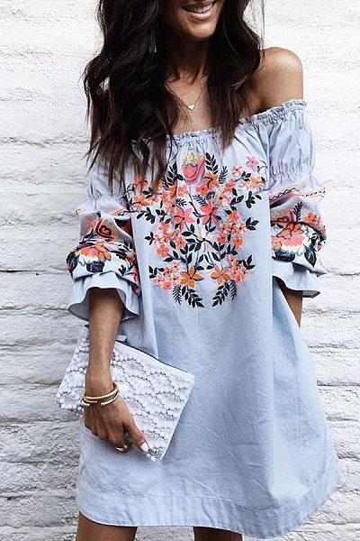 Off Shoulder  Floral Printed  Bell Sleeve Casual Dresses