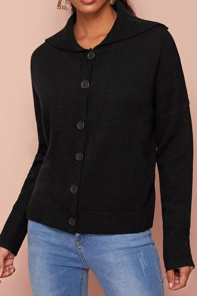 Fold-Over Collar Single Breasted Sweater