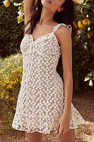 Summer V Collar Sleeveless Lace Printed Slim Dress
