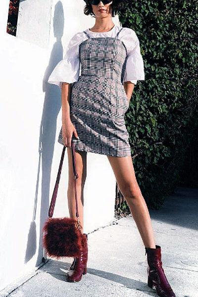 Spaghetti Strap  Gingham  Sleeveless Bodycon Dresses