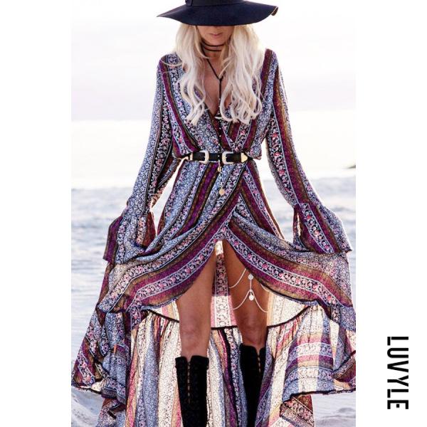 Boho Surplice Slit Tribal Printed Long Sleeve Maxi Dresses