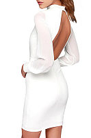 Backless Sheath Long Sleeve Bodycon Dresses
