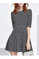 Round Neck  Striped  Cotton Shift Dresses