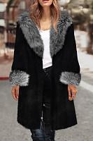 Faux Fur Collar  Frayed Trim  Plain Outerwear