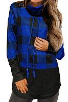 Heap Collar  Patchwork  Casual  Plaid  Long Sleeve T-Shirt