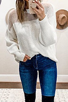 Casual Round Neck Color Drop Shoulder Long Sleeve Sweater