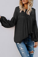 Round Neck  See Through  Plain  Blouses