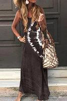 Round Neck Sleeveless Printed Maxi Dress