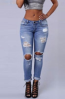 Women's Fashion Hole Worn Out Hollow Jeans