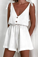 Backless V-neck Solid Color Playsuits