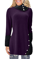 Heap Collar Long Sleeve Colouring Knit Tops