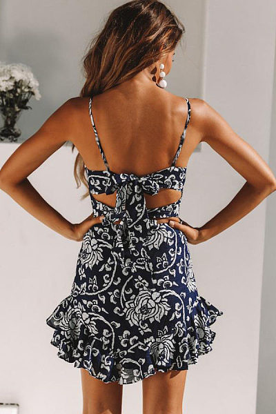 Spaghetti Strap  Backless Bowknot  Floral Printed  Sleeveless Bodycon Dresses