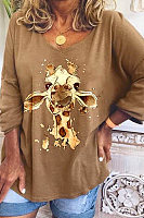 Long Sleeve Animal Print T-shirt