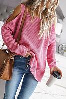 Open Shoulder Collar Plain Sweater