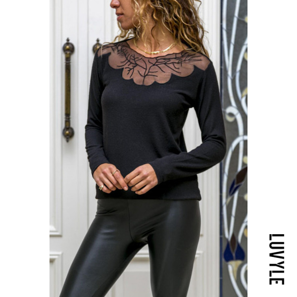 Black Round Neck See Through Patchwork Plain T-Shirts Black Round Neck See Through Patchwork Plain T-Shirts