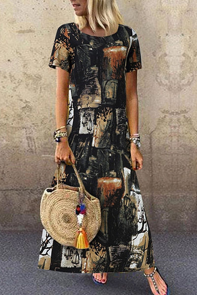 Round Neck Floral Pattern Maxi Dress