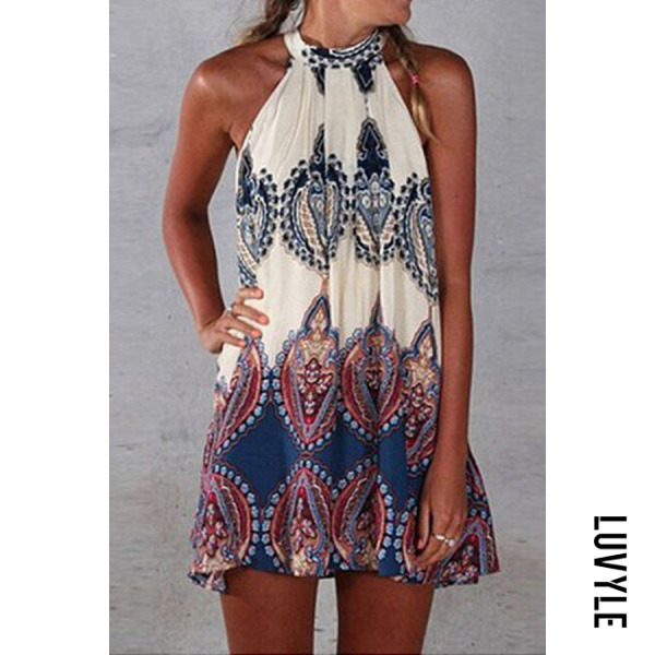 Dark Blue Round Neck Printed Shift Dress Dark Blue Round Neck Printed Shift Dress