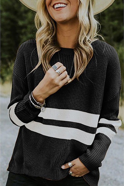 Round Neck Long Sleeve Color Block Striped Sweater