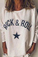 Casual Round Neck Long Sleeve Printed Colour T-Shirt